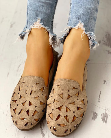Suede Hollow Out Flat Shoes