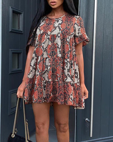 Snakeskin Round Neck Mini Dress