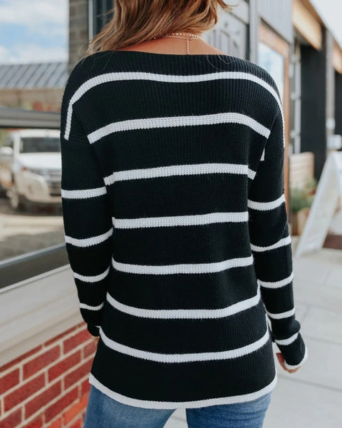 Loose Stripe Long Sleeve Sweater