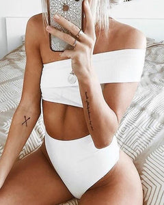 Solid One Shoulder Bikini Sets