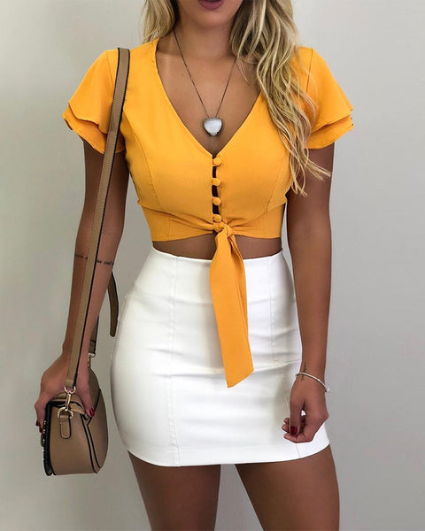 V-neck Flutter Sleeve Crop Blouse