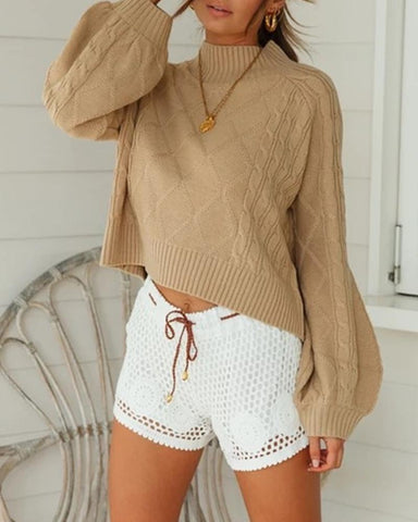 Casual Solid Cozy Lantern Sleeve Sweater