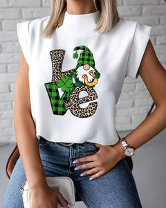 Saint Patrick's Day Cartoon Print Sleeveless Tanks