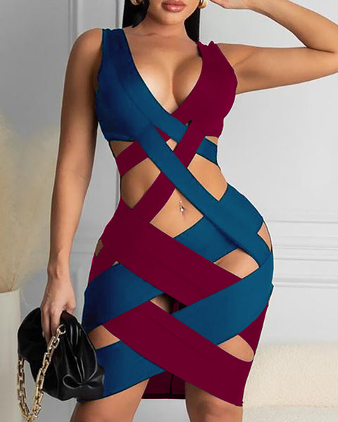 Colorblock Strappy Cutout Sleeveless Bodycon Dress