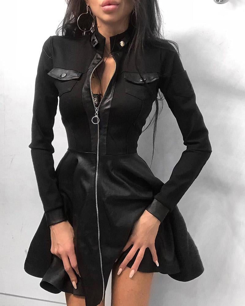 Zipper Pockets Design PU Leather Dress