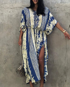Tie Dye Print High Slit Cover Up Dress