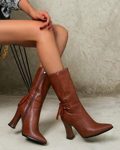 Lace-up Pointed-toe Solid Color High Heel Boots
