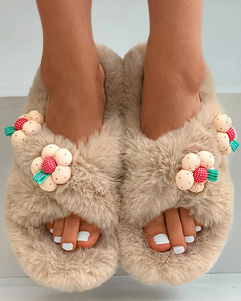 Floral Pattern Cross Fluffy Slippers