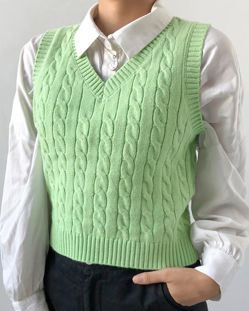 Solid Sleeveless Knitted Vest Sweater