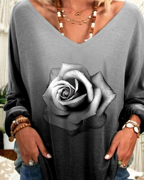 Rose Print Long Sleeve Blouse