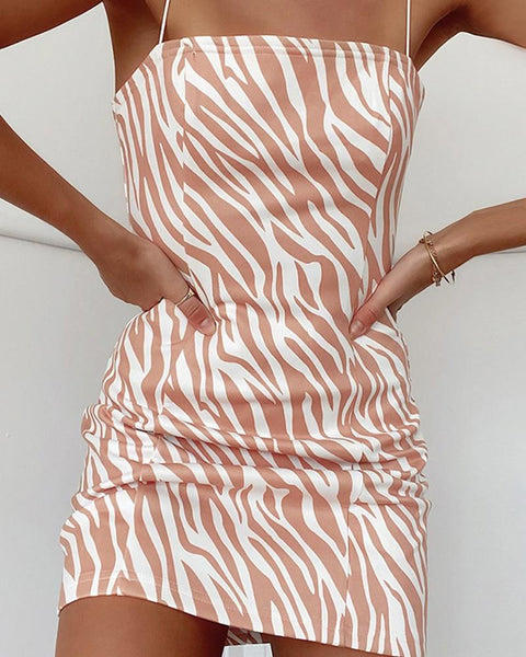 Zebra Stripe Printing Strap Skinny Mini Dress