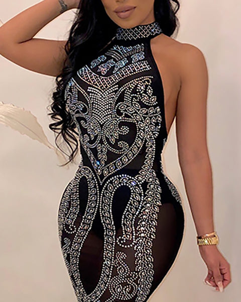 Open Back Hot Drilling Bodycon Dress