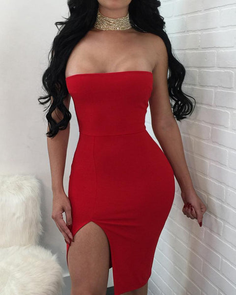 Sexy Straight Cross Cocktail Party Bodycon Dress
