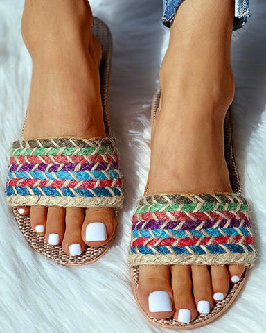Open Toe Woven Flax Flat Sandals