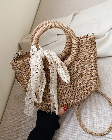 Straw Woven Round Handle Bowknot Design Tote Bags