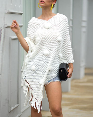 Tassel Design Pom Pom Cloak Sweater