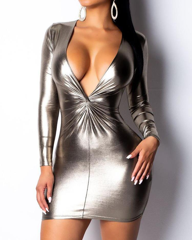 Plunge Twist Front Coated Bodycon Dress
