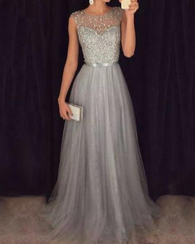 Elegant Sequins Patchwork Mesh Gown Dress