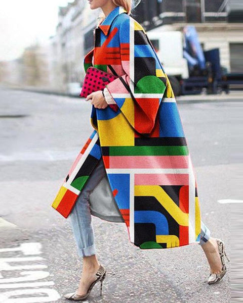 Colorblock Long Sleeve Loose Trench Coats