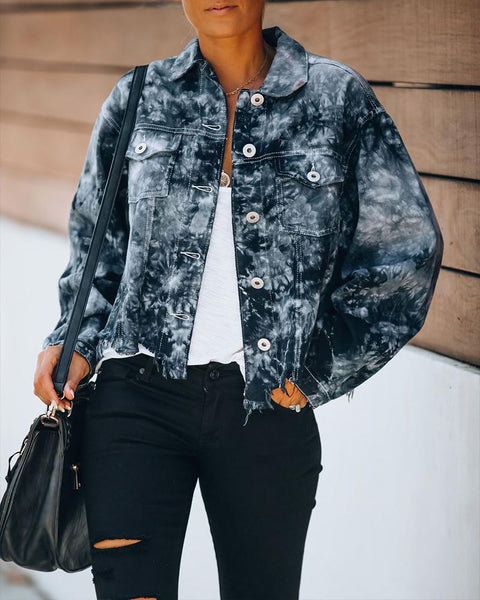 Tie Dye Long Sleeve Tassel Jacket