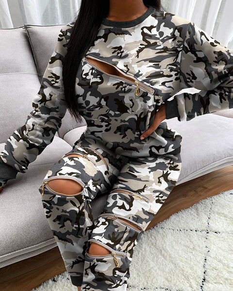 Camouflage Zip Top & Pocket Design Pants Set