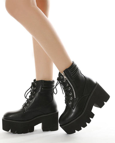 Lace-up Round-toe Solid Color Platform Ankle Boots