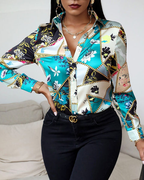 Floral Scarf Print Button Design Shirt