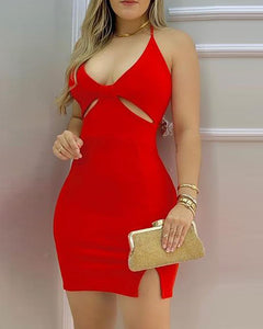 Plain Cutout Slit Spaghetti Strap Bodycon Dress