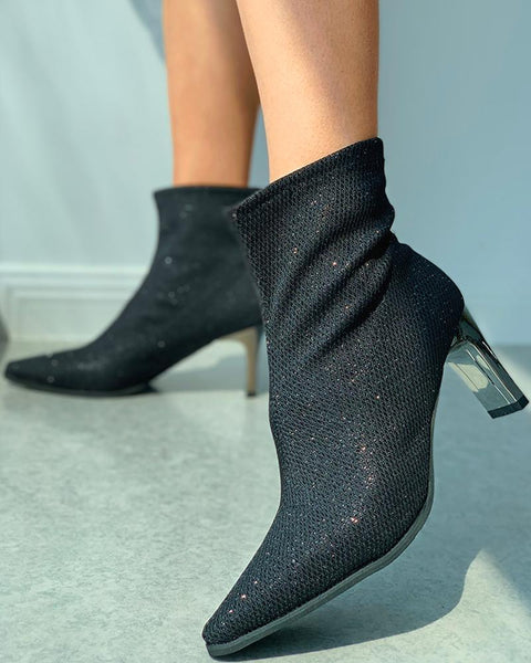Sequins Pointed Toe Heeled Sock Boots