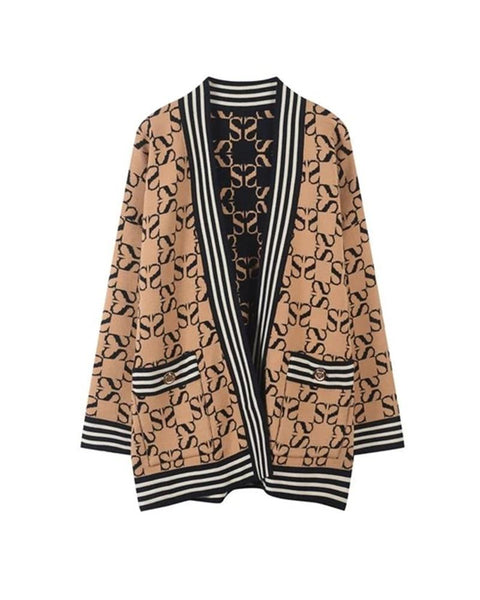 Retro Patterns Print Long Sleeve Loose Cardigans