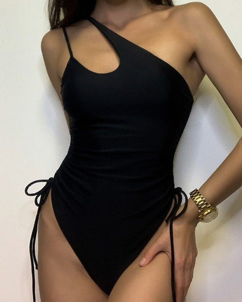 Plain One Shoulder Drawsting One-Piece Swimsuit