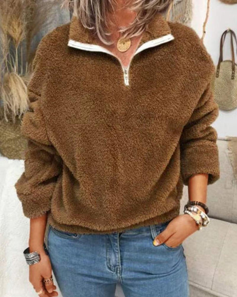 Solid Long Sleeve Teddy Sweatshirts
