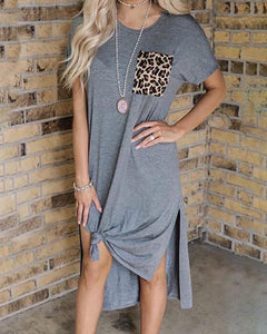 Leopard Print Pocket Slit Casual Dress