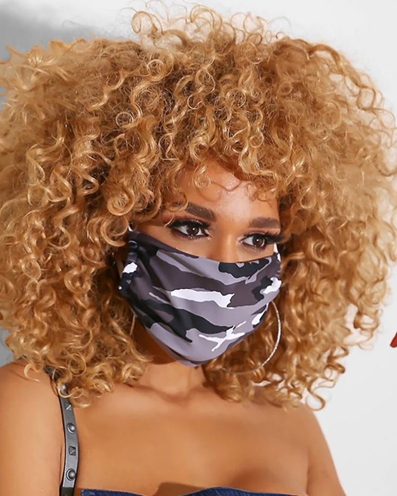 Camouflage Breathable Mouth Mask Washable And Reusable Without Cord Lock Toggles