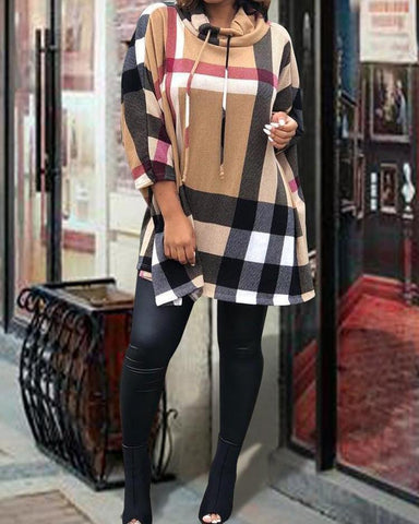 Plaid Print Heap Neck Drawstring Casual Dress
