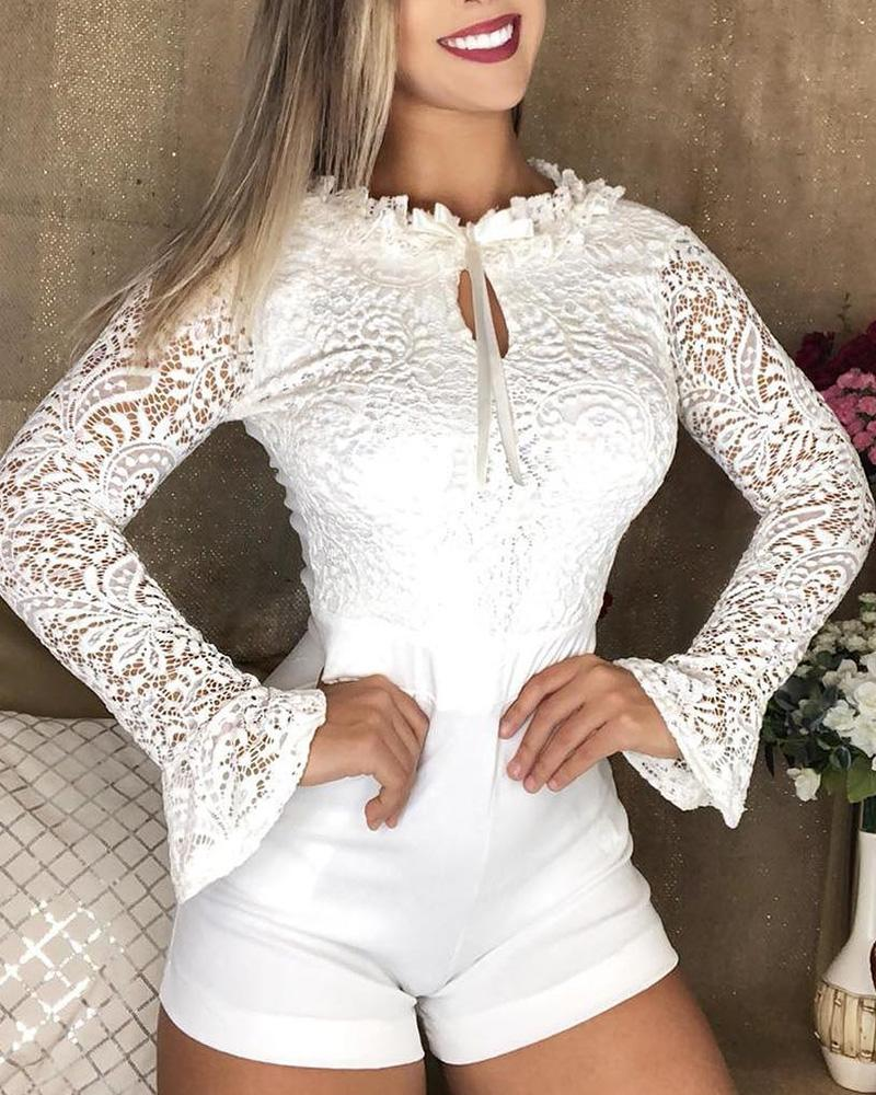 Bell Sleeve Hollow Out Lace Insert Romper