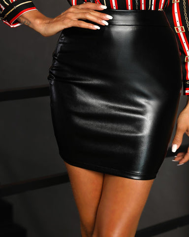 High Waist Mini PU Skirt