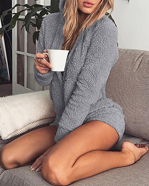 Solid Long Sleeve Hooded Casual Romper