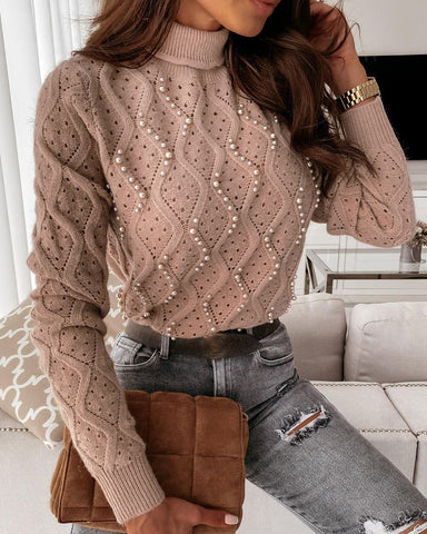Beaded Hollow Out Knit Sweater