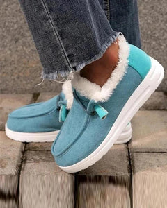 Solid Color Round-toe Fluffy Shoes