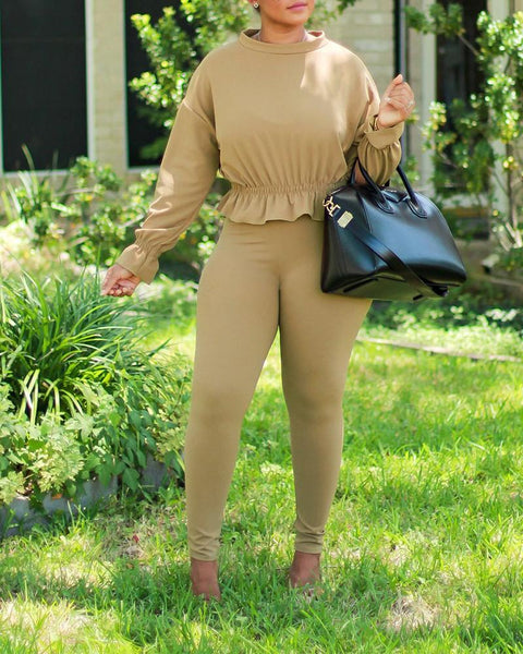 Solid Long Sleeve Ruffles Blouse Suit Sets