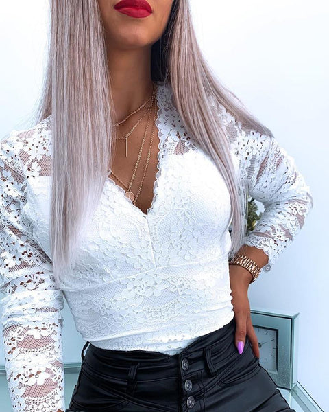 Cutout Backless Eyelash Lace Long Sleeve Top