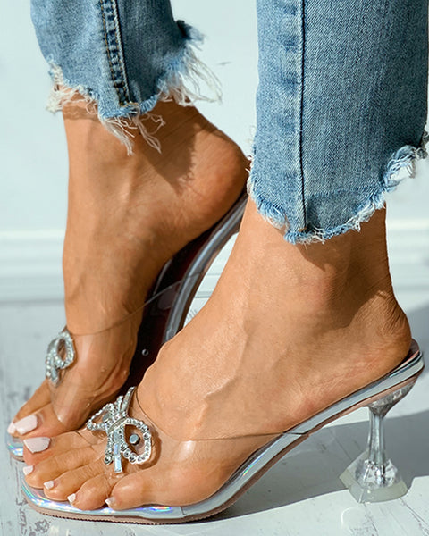 Studded Bowknot Decor Clear Perspex Square Toe Pyramid Heel