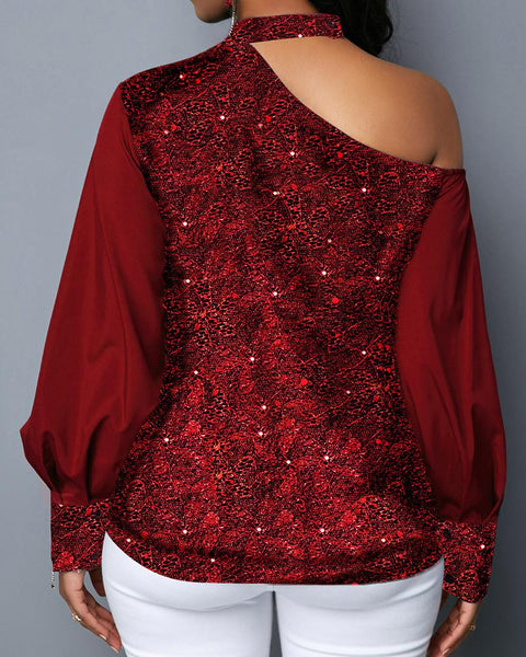 Christmas Sequin Solid Color Lantern Sleeve Blouse
