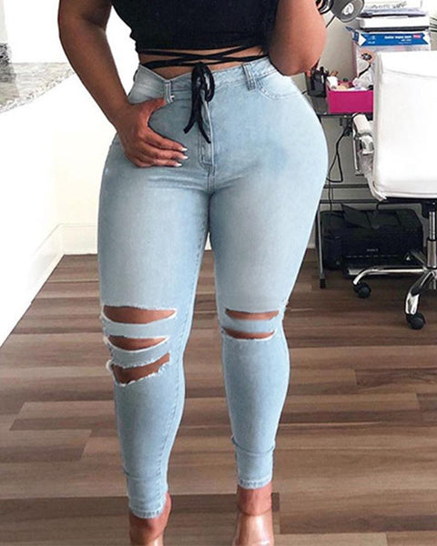 Ripped Solid Color Denim Pencil Pants