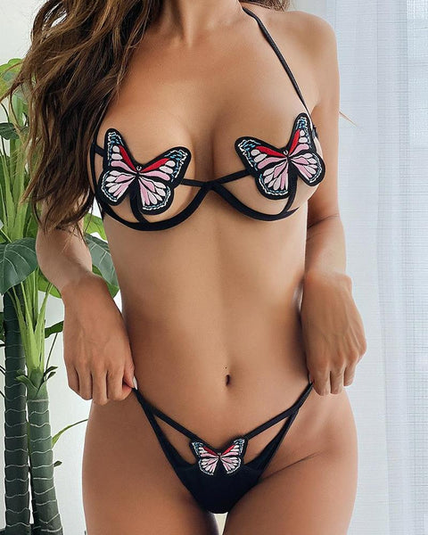 Multicolor Butterfly Shape Hollow-out Sleeveless Bra Sets