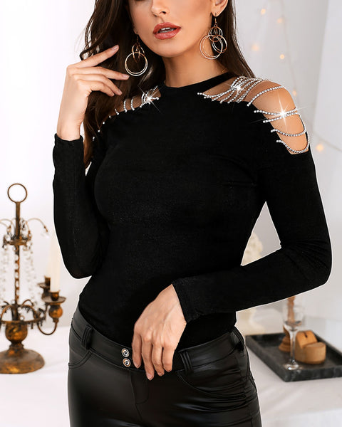 Studded Tassel Cold Shoulder Blouse