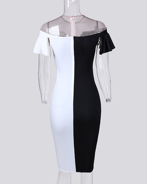 V Cut Color Block Button Detail Wrap Dress