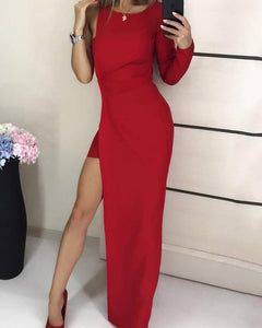 One Sleeve High Slit Party Dress