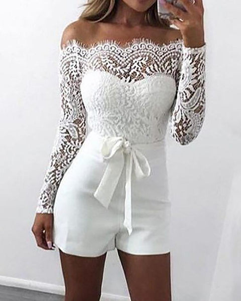 Off Shoulder Eyelash Lace Patchwork Belted Romper